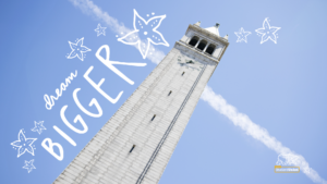 This is a zoom background depicting Sather Tower for downloading.